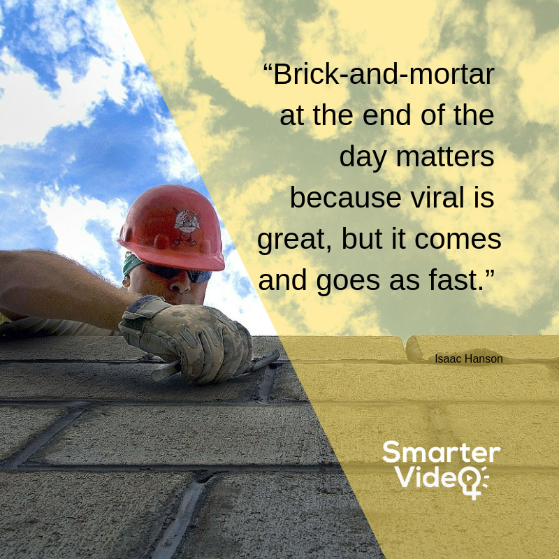 """Brick-and-mortar at the end of the day matters because viral is great, but it comes and goes as fast. Isaac Hanson"