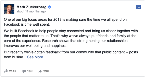 Mark Zuckerberg 2018 algorithm status update